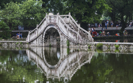 stone bridge over nanhu lake hongcun
