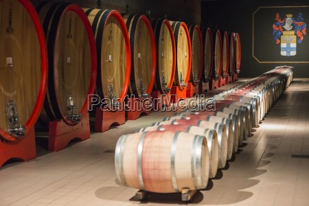wine barrels of different sizes at