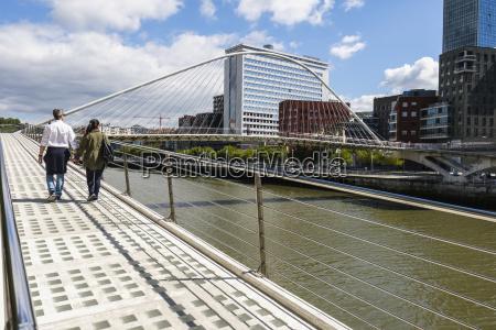 zubizuri bridge over river nervion bilbao