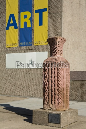 ceramic urns by arnold zimmerman outside