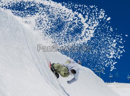 ein professioneller fretifischer snowboarder im high