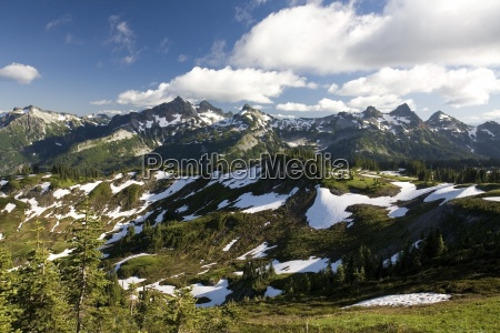 tatoosh mountains in spring season mt