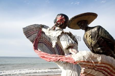 sculptures on beach puerto vallarta mexico