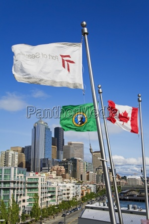 bell street pier flags seattle washington