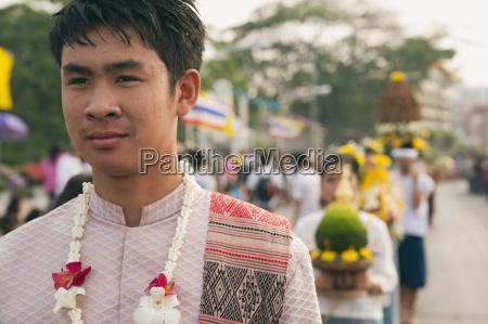 man in flower festival chiang mai