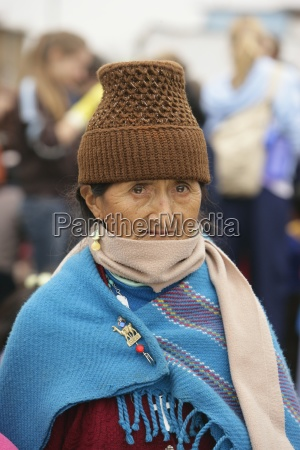 senior woman in wool hat lima