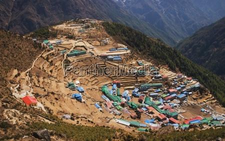 the town of namche bazaar khumbu