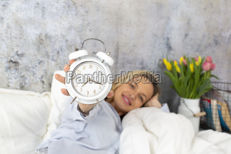 beautiful blond woman in the morning