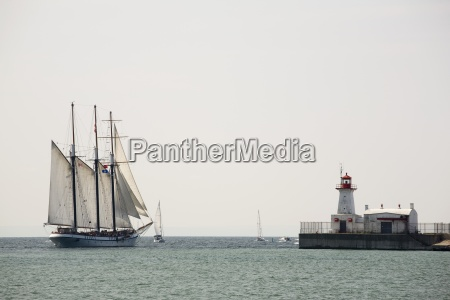 tall ship with sails and a