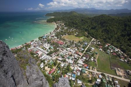 aerial view of coastline of tropical