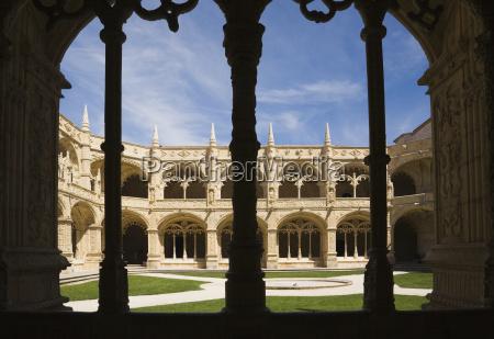 courtyard at jeronimos monastery lisbon portugal