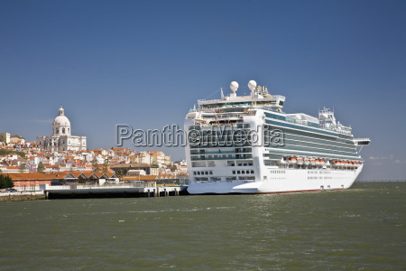 a cruise ship moored with the