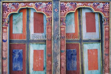 bhutan paro detail of wall art