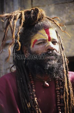 nepal kathmandu kopfschuss von hindu heiligen