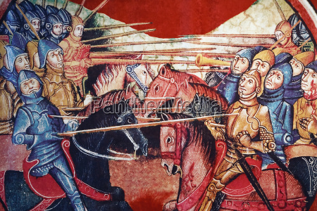 mounted medieval knights in battle in