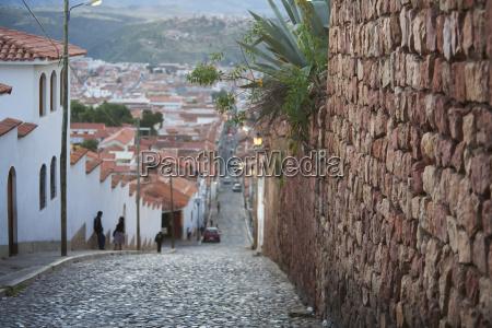dalence street at dusk sucre chuquisaca