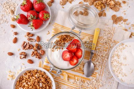 healthy breakfast in a glass jar
