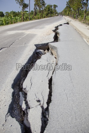 a large crack in the road