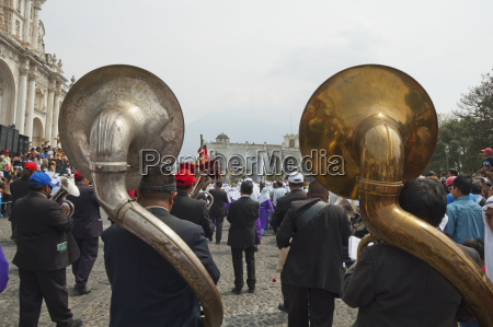 a music band plays funeral marches