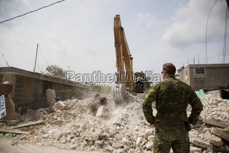 military hard at work to rebuild