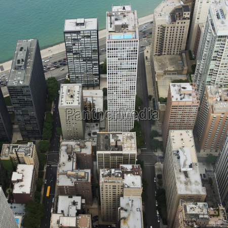 high angle view of the skyscrapers