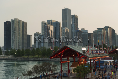 navy pier and skyscrapers along the
