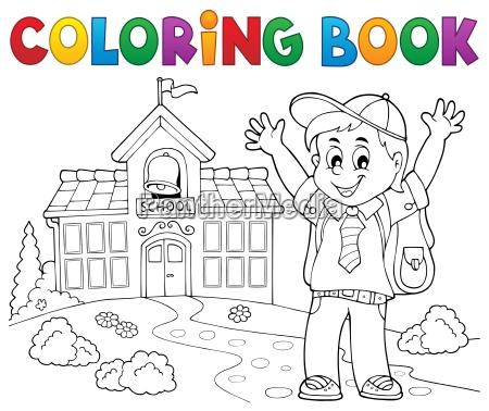 farbbuch gluecklicher schueler junge thema 2