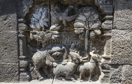bas relief depicting the life of