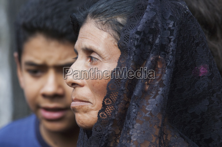 woman dressed in mourning at the
