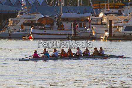 eight women in a racing boat