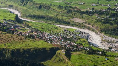 nepal view of town from sarangkot