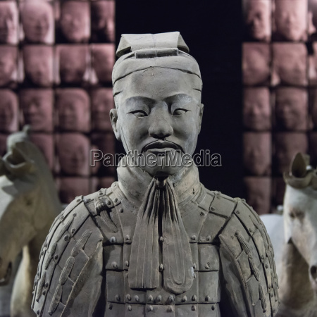 a statue on display at the