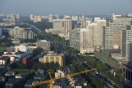 busy cityscape von peking mit smog