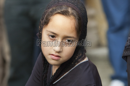 girl dressed in mourning at the