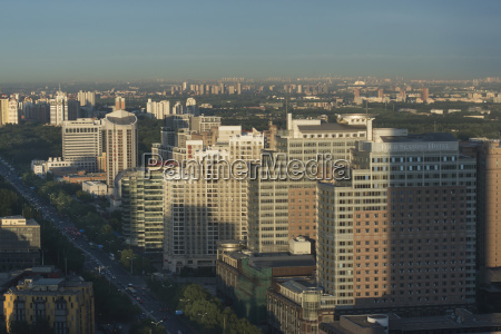 cityscape of beijing and a busy