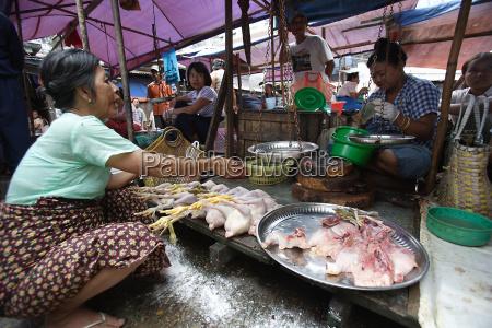 frau laeuft kleinen marktstall verkaufen huehner