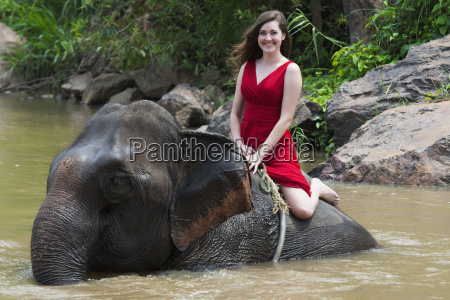 girl riding an elephant in the