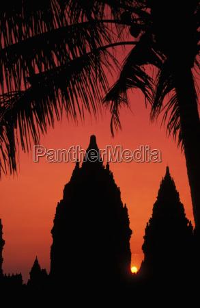 indonesia java prambanan silhouette of temple