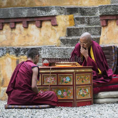 china xizang tibet lhasa two monks