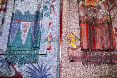 batik fabrics on display at saptohoedojo