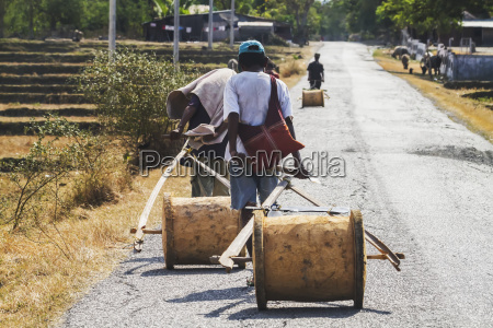 farmers carrying their tools on a