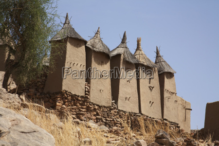low angle view of granaries in