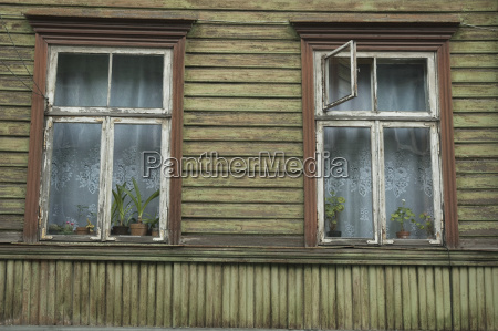 window in a wooden house at