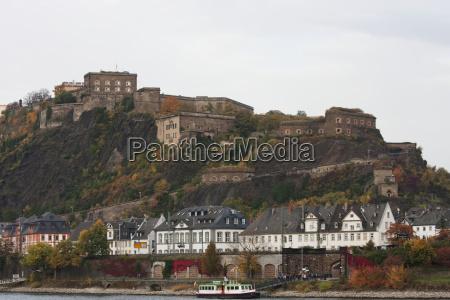 ehrenbreitstein castle above the rhine river