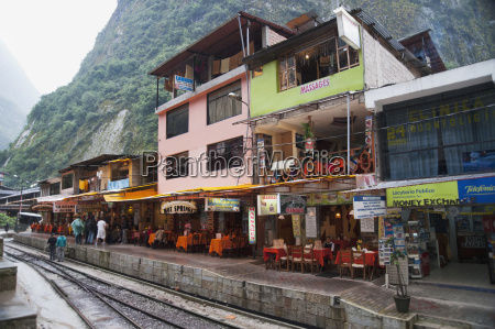 restaurant patios and buildings along the