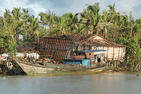 riverside houses and a wooden fishing