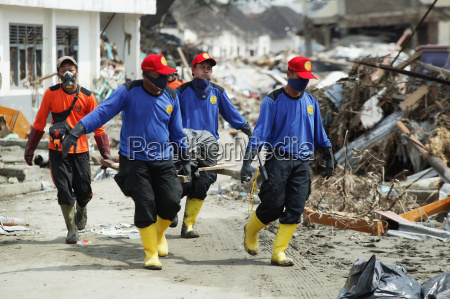workers doing clean up after the