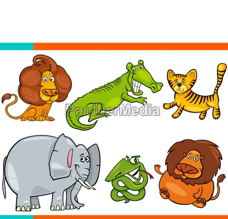 set of cartoon funny animal characters
