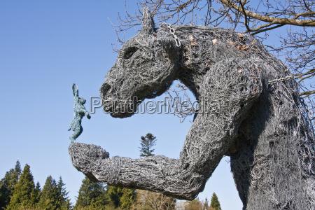 minotaur sculpture in the turf labyrinth