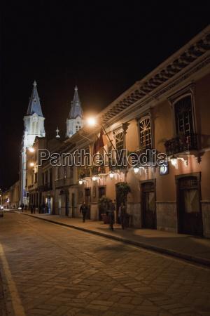 street scene at night cuenca azuay